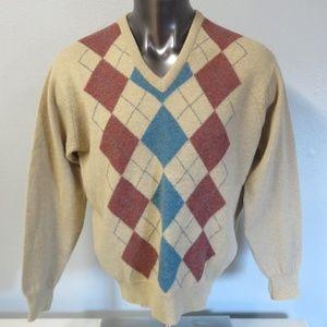 Pringle Scotland V Neck Sweater Argyle Size 44
